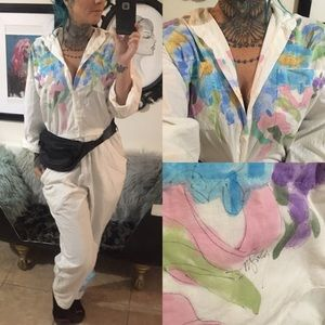 Vintage 80's hand painted jumpsuit sz small